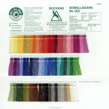 Color card - Cotton Bomullsgarn 16/2 - Bockens