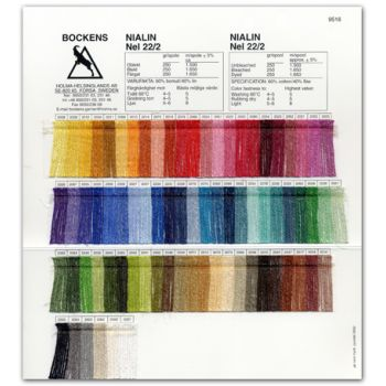 Color card Nialin 22/2 cotton 60 %, linen 40 % - Bockens