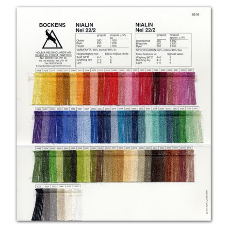 Carte coloris Nialin 22/2 coton 60 %, lin 40 % - Bockens